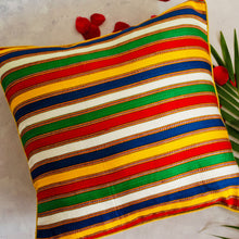 Load image into Gallery viewer, Multicolour Stripes Mashru Silk Cushion Cover
