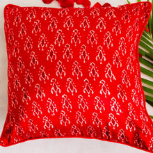 Load image into Gallery viewer, Red Abstract Mashru Silk Cushion Cover