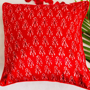 Red Abstract Mashru Silk Cushion Cover