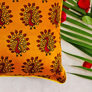 Yellow Peacock Print Mashru Silk Cushion Cover