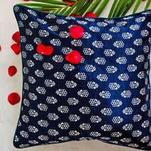 Load image into Gallery viewer, Blue and White Floral Blockprint Mashru Silk Cushion Cover
