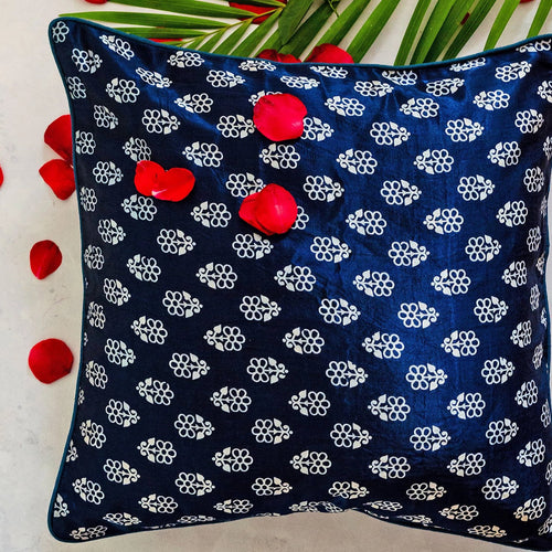 Blue and White Floral Blockprint Mashru Silk Cushion Cover
