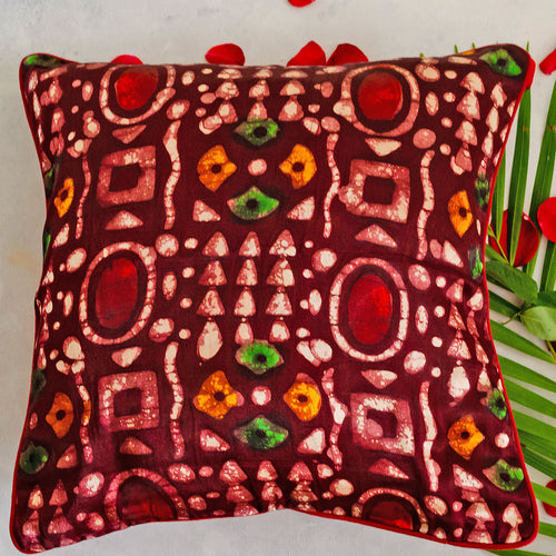 Red Batik Print Mashru Silk Cushion Cover