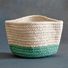 Load image into Gallery viewer, White and Green Cotton Planter cum Storage Basket (S,M,L)