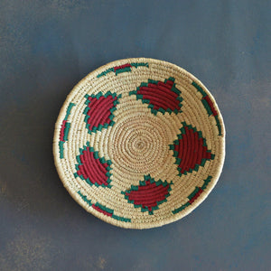 Red & Green Dadam Sabai Handwoven Grass Basket