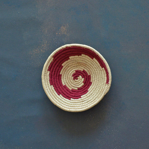 Maroon Abstract Sabai Seagrass Handwoven Grass Basket