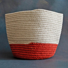 Load image into Gallery viewer, White and Orange Cotton Planter cum Storage Basket (S,M,L)