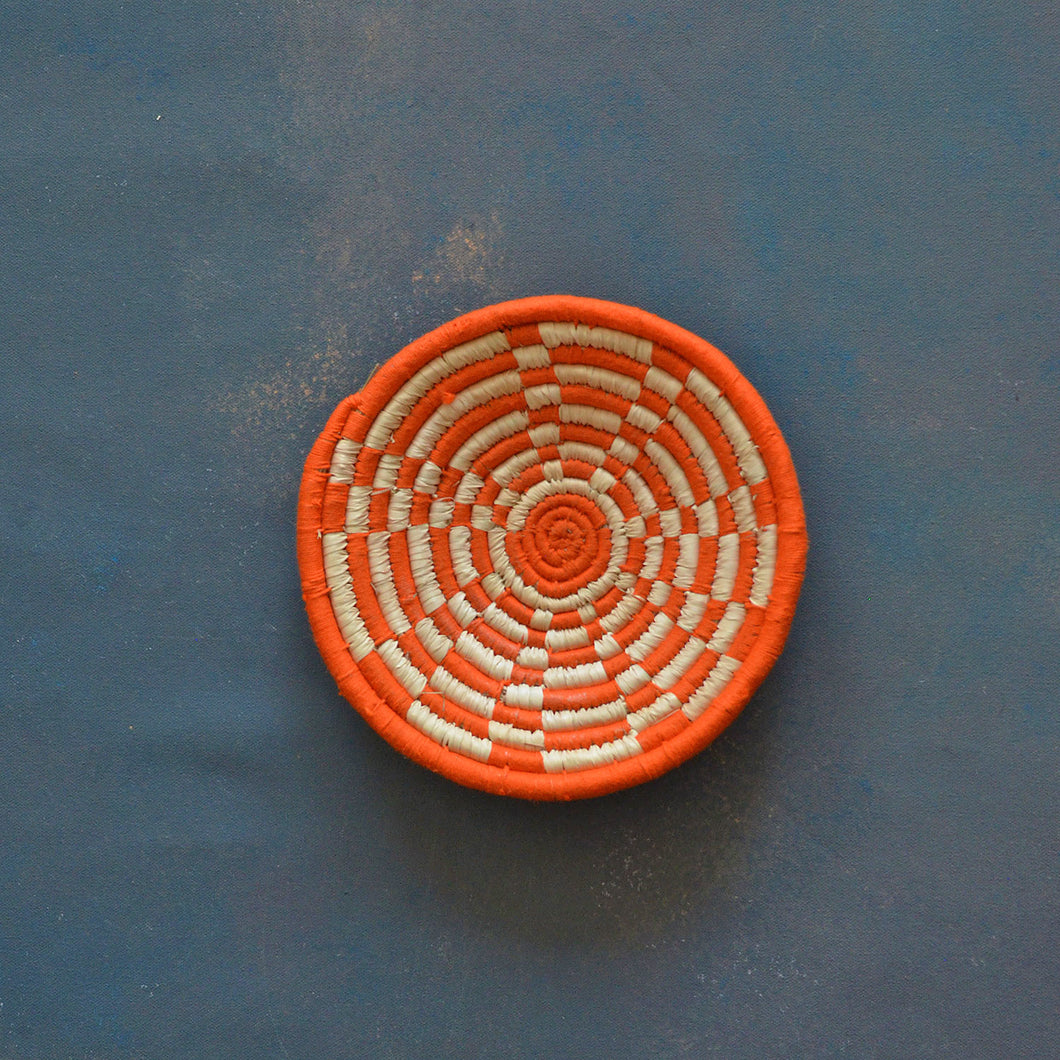 Orange Moroccan Sabai Handwoven Grass Basket