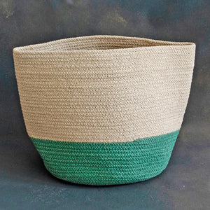 White and Green Cotton Planter cum Storage Basket (S,M,L)