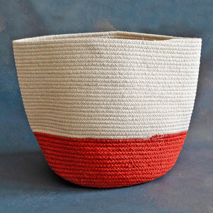 White and Orange Cotton Planter cum Storage Basket (S,M,L)
