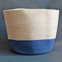 Load image into Gallery viewer, White and Blue Cotton Planter cum Storage Basket (S,M,L)