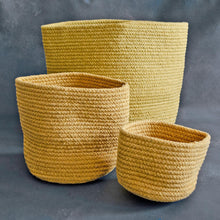 Load image into Gallery viewer, Yellow Cotton Planter cum Storage Basket (S,M,L)