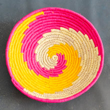 Load image into Gallery viewer, Pink and Yellow Swirl Sabai Grass Basket