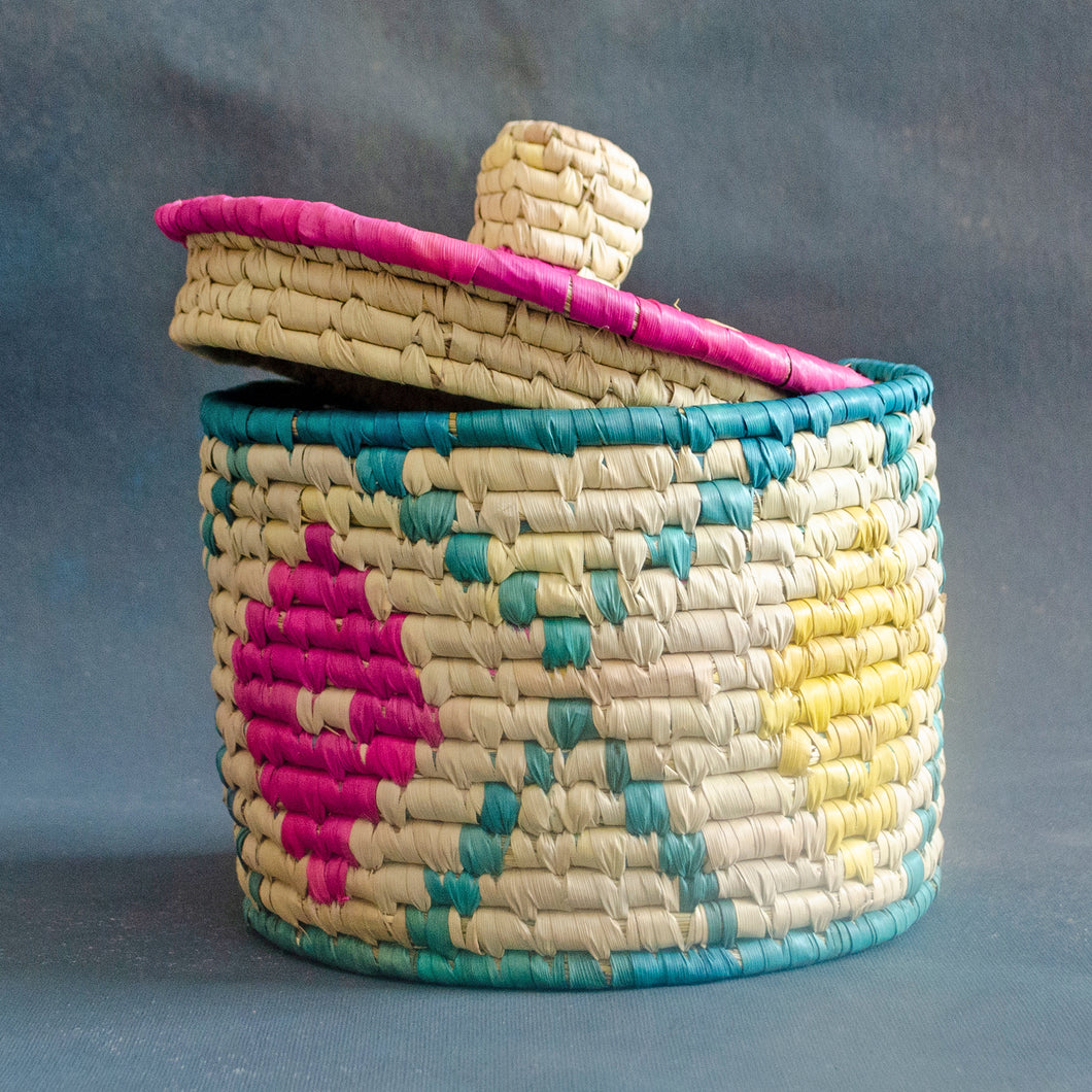Pink & Yellow Ikat Sabai Grass Storage Box with Lid