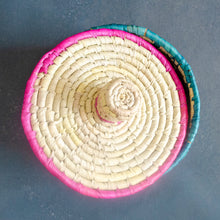 Load image into Gallery viewer, Pink & Yellow Ikat Sabai Grass Storage Box with Lid