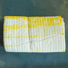 Load image into Gallery viewer, Yellow Shibori Handmade Kantha Bedcover/Dohar