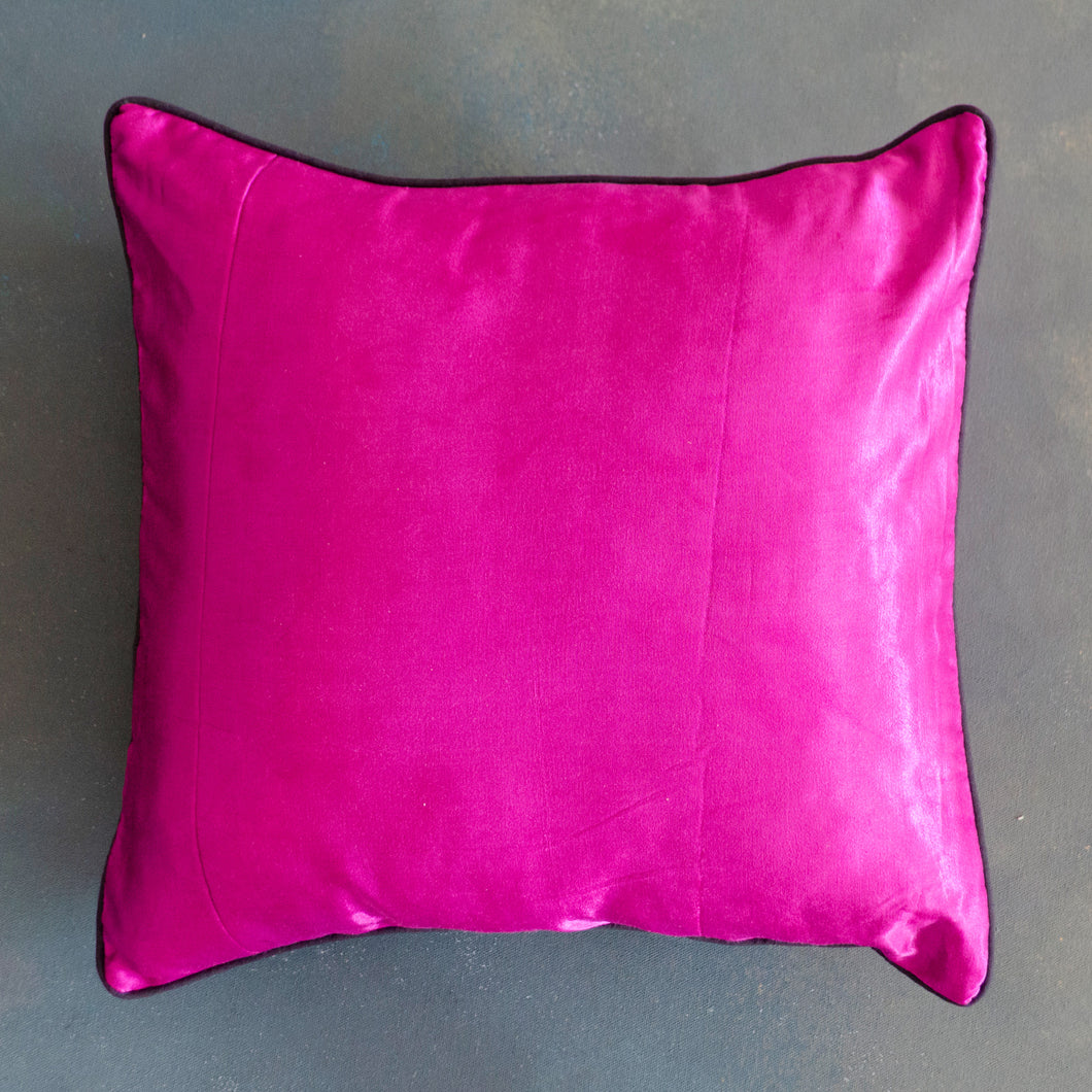 Purple Polka Handloom Mashru Silk Cushion Cover