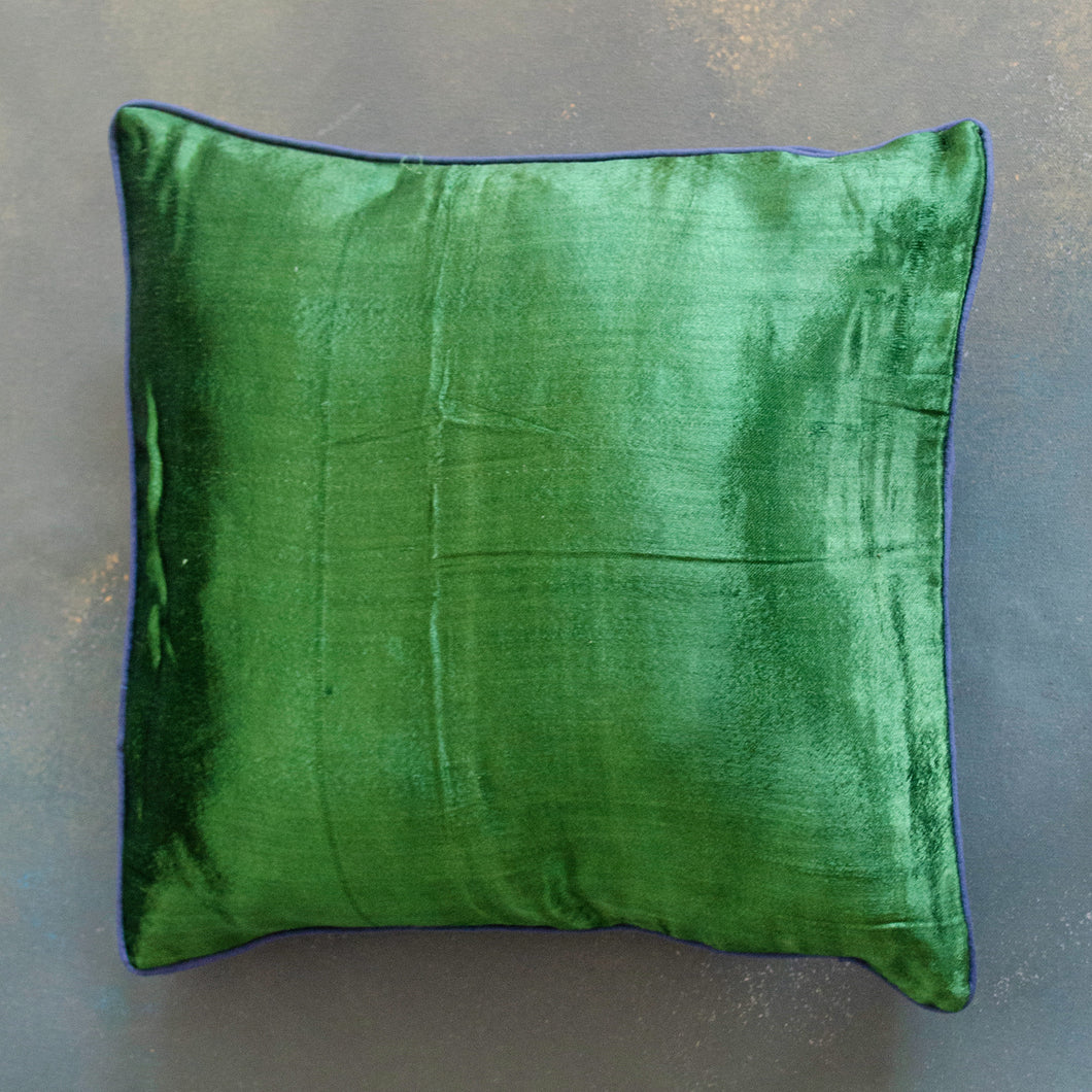 Emerald Green Handloom Mashru Silk Cushion Cover