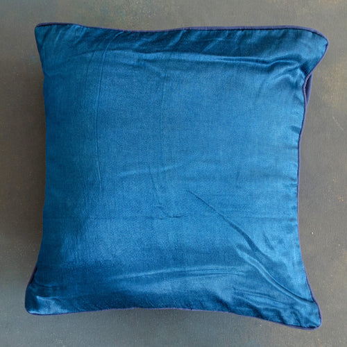 Indigo Blue Handloom Mashru Silk Cushion Cover