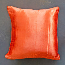 Load image into Gallery viewer, Orange Mashru Silk Cushion Cover
