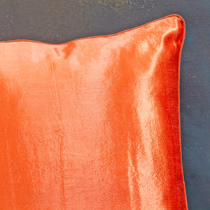 Orange Mashru Silk Cushion Cover