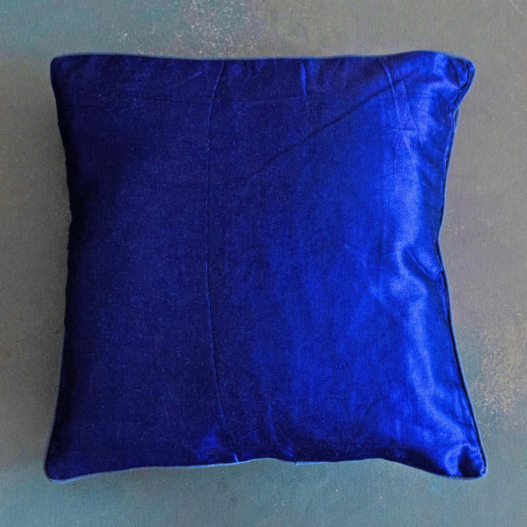 Navy Dark Blue Handloom Mashru Silk Cushion Cover
