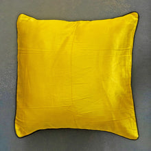 Load image into Gallery viewer, Yellow Plain Handloom Mashru Silk Cushion Cover