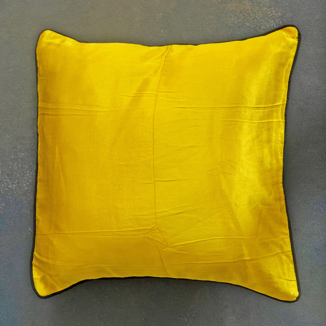 Yellow Plain Handloom Mashru Silk Cushion Cover