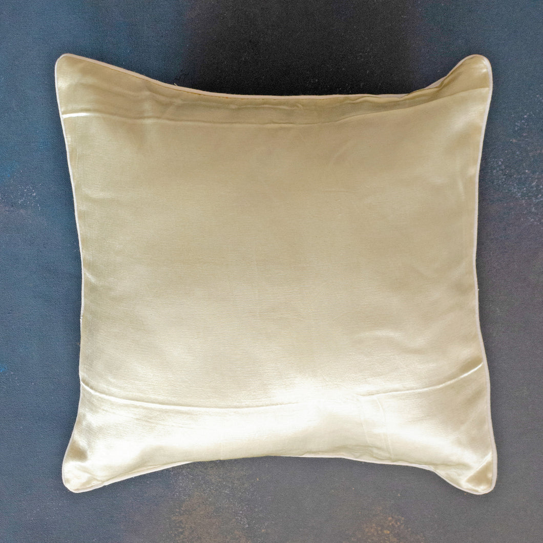 Ivory White Mashru Silk Cushion Cover