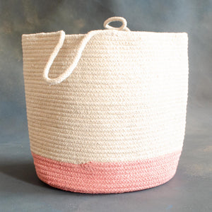 White and Peach Cotton Planter cum Storage Basket with handle