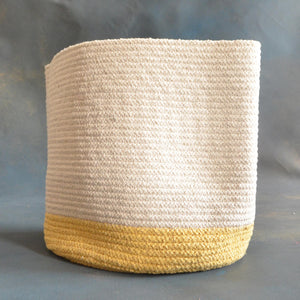 White and Yellow Cotton Planter cum Storage Basket