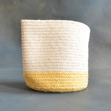 Load image into Gallery viewer, White and Yellow Cotton Planter cum Storage Basket