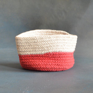 White and Pink Cotton Planter cum Storage Basket