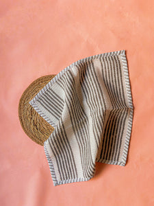 Black Stripe and Check Blockprint Dish Towel Combo