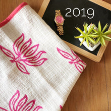 Load image into Gallery viewer, Pink Blockprinted Lotus Tea Towel Set