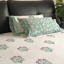 Load image into Gallery viewer, Pink and Green Floral Double Bed Bedsheet