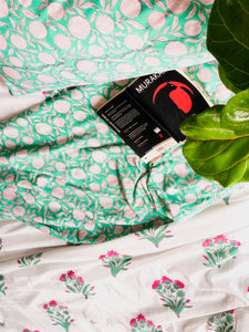 Pink and Green Floral Bedsheet and Reversible Dohar Set