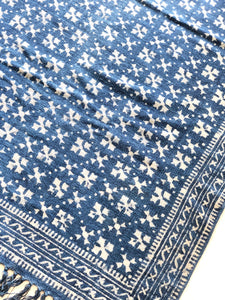 Indigo Abstract Dadam Cotton Rug