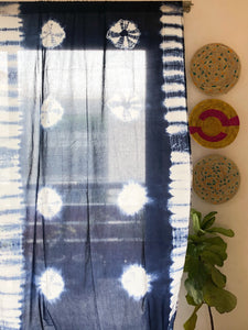 Indigo Marigold Tie Dye Semi Sheer Curtain