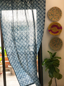 Indigo Abstract Blockprint Semi Sheer Curtain
