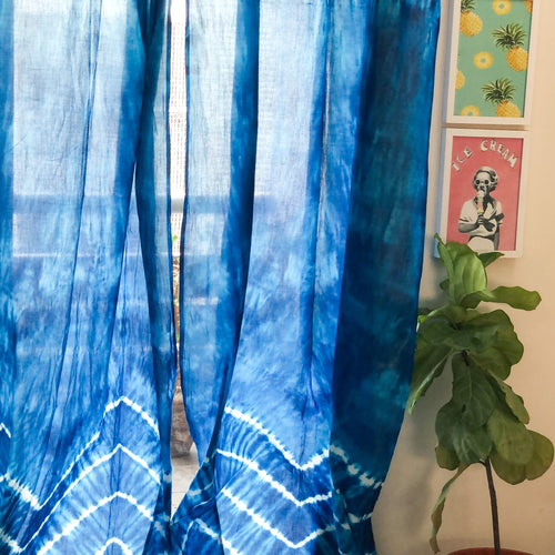 Blue Shibori Chevron Tie Dye Sheer Curtain