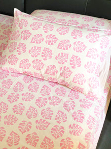 Pink Monstera Double Bed Bedsheet