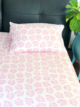 Load image into Gallery viewer, Pink Monstera Double Bed Bedsheet