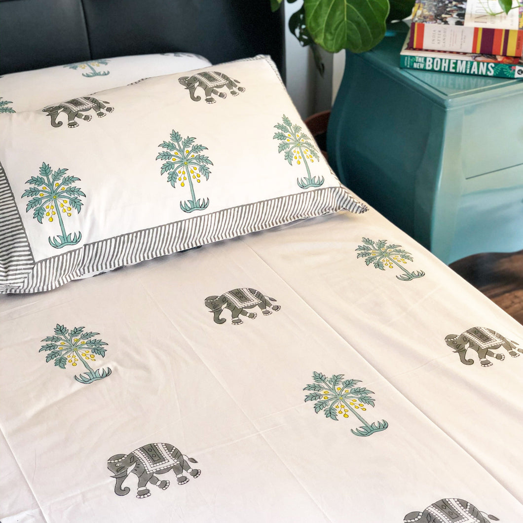 Elephant and Palm Tree Double Bed Bedsheet