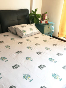 Elephant and Palm Tree Bedsheet and Reversible Dohar Set