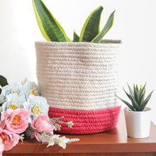 Load image into Gallery viewer, White and Pink Cotton Planter cum Storage Basket