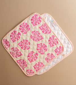 Pink Monstera Pot Holders Set of 2