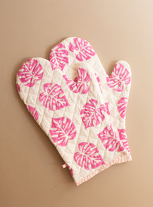 Pink Monstera Oven Mitts and Pot Holder Set