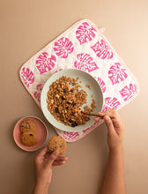 Load image into Gallery viewer, Pink Monstera Oven Mitts and Pot Holder Set