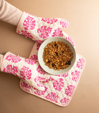 Load image into Gallery viewer, Pink Monstera Oven Mitts Set of 2